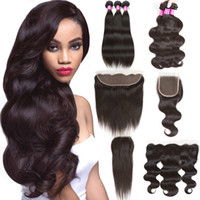 Cheap 8A Brazilian Straight Virgin Hair Bundles With Lace Cl...