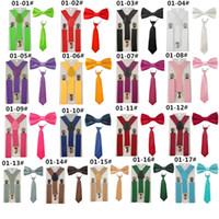 Moda 3 ADET Okul Erkek kız Çocuk Çocuklar için brace elastik Jartiyer gömlek suspensorio Kravat Bowties kelebek Kravat Seti TR0001