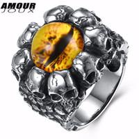 Ganze verkauf kühlen gelben augen skeleton kopf charme antike silber-farbe 316l edelstahl ringe für männer mode hochzeit ring