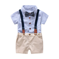 5b4ea0710 Baby Boy Gentleman Clothes Set Summer Suit para Kid Kid Kid Party formal  Bow Body Set 0-24 Month Baby Boy Striped Clothing