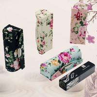 예쁜 휴대용 거울 빈 립스틱 컨테이너 튜브에 대 한 작은 보석 상자 꽃 천을 립 밤 포장 립 광택 상자