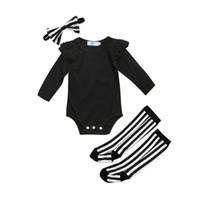 귀여운 신생아 여아 복장 Ruffle Romper 점프 슈트 양말 레깅스 복장 복장 유아 유아 소녀 단색 캐주얼 복장 의류