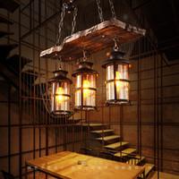 Industrial Woody ferro forjado Pendant Light Chandelier Hanging Lamp celling Luzes peça de metal Gaiola com sombra de vidro para Indoor Bar