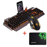 Проводной светодиодной подсветкой мультимедиа эргономичный USB игровой клавиатуры мышь комбо подсветкой 2000DPI оптический геймер мыши наборы + коврик для мыши
