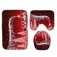 Alfombrilla de asiento de inodoro de Santa Claus Alfombra Decoración de Navidad Patrón de dibujos animados Pad 3 piezas / juego Alfombra de absorción de agua y antideslizante tapis de toilette