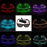 LED Party Glasses EL Wire Fluorescent Glass 10 Colors Hallow...