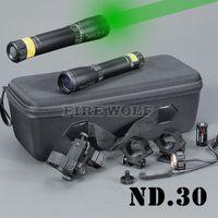 Ny lasergenetik ND3 X30 ND30 Långdistans Grön Laser Designator w / Justerbar Scope Mount Jakt