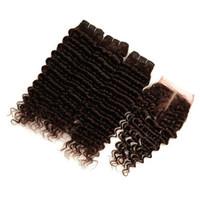 Peruanisches schokoladenbraunes reines Menschenhaar-Bündel befasst sich mit 3 Stück mit Verschluss Deep Wave # 4 Dunkelbraune Haarwebarten mit 4 x 4 Spitzenverschluss