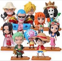 Q Wersja anime One Piece PCV Figurki Akcja Cute Mini Figury Zabawki Lalki Model Kolekcja Zabawka Brinquedos 10 sztuk Zestaw Darmowa Wysyłka