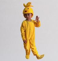 2017 Nuevo estilo de los niños Cosplay Banana Fruits realizar ropa de lentejuelas Niños y niñas Danza Conjoined ropa estilo largo