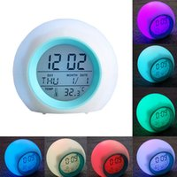 7 LED Colour Changing Digital Alarm Clock Thermometer Date T...