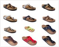 Новый известный бренд Gizeh мужчины пробковый плоский каблук вьетнамки женщины натуральная кожа повседневные сандалии с пряжкой мода лето пляжная обувь с коробкой