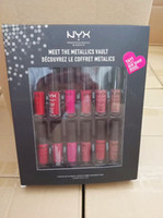 Yeni Makyaj Yüksek kaliteli 12 Moda Renk = 1set Lipgloss Mat Su geçirmez Meet The Metallics Vault NYX Dudak Sürümü