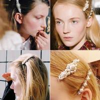 Hot Fashion Women Rhinestone di cristallo perla Forcine Handmade ragazze perle di vetro Barrettes belle perle pieno clip di capelli per tutti i giorni