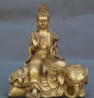 الصين القديمة التبت البوذية معبد النحاس والبرونز تمثال سامانتابهادرا كوان يين