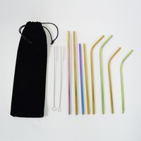 Colorful Drinking Straw Sets 304 Stainless Steel Straight St...