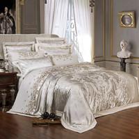 الشظية الذهبي الفاخرة الحرير الجاكار الفراش مجموعات التطريز السرير مجموعة مزدوجة الملكة الملك الحجم غطاء لحاف ورقة السرير مجموعة المخدة