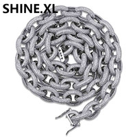 14 K Banhado A Ouro de Prata Banhado Congelado Micro Pave Torcida Âncora Oval Colar de Ligação para Homens Mulheres Presente