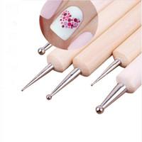3 set 2 Way punteggiatura in legno penna per marmo strumenti nail art punteggiatura strumenti 5pcs / set