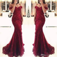 New Elegant Off the Shoulder Beaded Mermaid Prom Dresses Sho...