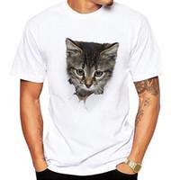 3D Cute Cat Camisetas Mujer Verano Tops Tees Imprimir Animal T shirt Hombres o-cuello manga corta Camisetas de moda Tallas grandes