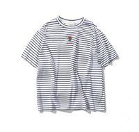Роза Вышивка Полосатая мужская футболка с коротким рукавом лето Привет-улица Крупногабаритные Hip Hop тенниска хлопка футболки