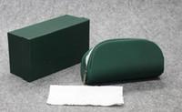 Été nouvelle boîte de fermeture éclair de haute qualité femmes et hommes lunettes de soleil boîte vert étui en tissu lunettes Litchi grain paquet souple A +++ livraison gratuite