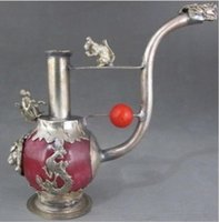 قديم اليدوى الأحمر اليشم البطانة الأنابيب التبت الفضة التنين التدخين الأنابيب النادرة