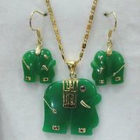 Charmant! vert naturel pendentif éléphant Jade boucles d'oreilles jaunes collier blanc serti de bijoux de mode