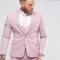 Neue Ankunft Hellrosa Männer Anzug Dünnes Kleid Groomsmen Smoking Für Strand Hochzeit Junge Mens Tägliche Arbeitskleidung (Jacke + Pants + Tie)