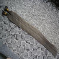 """L'allongement en pointe humain de cheveux de fusion humaine de kératine gris argenté a fait la rallonge pré-collée de cheveux de Remy 16 """"20"""" 24 """"18"""" 22 """"26"""" 14 """"1g / s"""