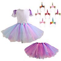 2018 New Unicorn Tutu Skirt Suits Kids Two pcs Clothing with...