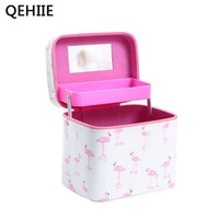 Women PU leather cosmetic box Double layer Large capacity fl...