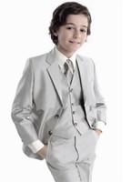 Горячие продажи мальчиков костюм мода дизайн смокинг партии формальные детские 4 шт. смокинг мальчиков свадебная одежда (куртка + брюки + жилет + галстук)
