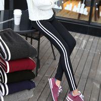 Women's Bars Pants Solid Slim Leggings Velvet Skinny Long Pant High Stretch Parallel Bar Sports Trouser Cotton Elastic Waist Trousers