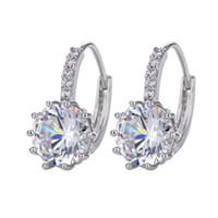 Brincos de garanhão de orelha de luxo para as mulheres 8 cores redondas com zircão cúbico Charm Flower Brincos Mulheres Jóias Presente Diamante Brincos