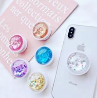 Neu phantasie bunte flüssige glitter tabletten handyhalter für iphone xs xr 7 8 plus xiaomi huawei samsung dremshell bling grip halterung stehen