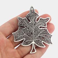 10Pcs Grandi Uva lascia fascini Maple Leaf pendenti di tono argento gioielli fai da te facendo trovare 74x63mm