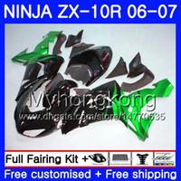 KAWASAKI ZX1000 C ZX 10R 06 07 페어링 215HM.30 ZX (10) R ZX10R 06 07 ZX 1000CC ZX10R 년 2006 년 2007 년 뜨거운 녹색 화염 차체 키트 바디