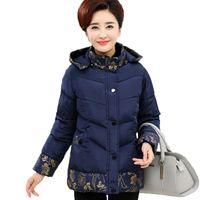 Damen Down Parkas Winter Baumwolljacke Mittelalter Ältere Frauen Mantel Mutter Kleidung Drucken Dicke Wattierte Plus Größe