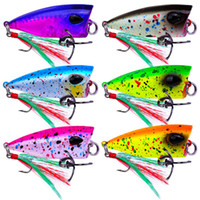 Mini plastica Popper Crankbaits Lipless Pesce esche da pesca in acqua dolce Feather ganci 4 cm 4.3g Floating Swimming Lure per l'acqua superiore