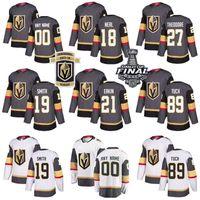 Vegas Golden Knights Chandails de hockey sur mesure Nom Numéro 19 Reilly Smith 89 Alex Tuch 27 Karité Theodore 21 Cody Eakin Enfants Homme Femme Gris Blanc