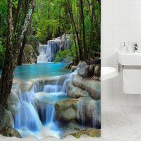 3D Durable Duschvorhang Wunder Wasserfälle Grüne Natur Landschaft Badezimmer Mildewproof Polyester-gewebe Mit Stoff polyester