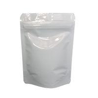 8.5 * 13 cm Branco Brilhante Stand Up Folha De Alumínio Sacos De Embalagem 100 pçs / lote Doypack Zip Bloqueio De Armazenamento de Café Feijão De Alimentos Mylar Bolsa Zipper Top sacos