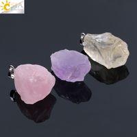 CSJA Natural Gem Pedras Crystal Clear Colares Pingentes Reiki Cura Irregular Cristal Branco Ametista Rose Quartz Citrino Pêndulo F070