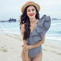 Women One- piece Bikini Swimsuit Striped Ruffle Vintage Swimw...
