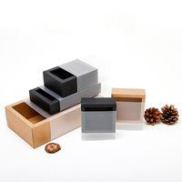 Siyah / Kahverengi Kraft Kağıt Çekmece Kutuları Buzlu PVC Kapak Ile DIY El Yapımı Sabun Zanaat Mücevher Kutusu Düğün Parti Hediye Ambalaj