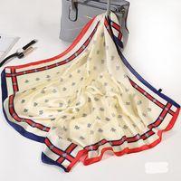 여성 Bandanas 다기능 실크 스카프 새틴 벌 인쇄 작은 정사각형 Shawls 핸들 가방 리본 숙녀 사무소 풀라 드 Neckerchief
