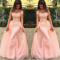 2021 공주 레이스 쉬어 목 복숭아 핑크 이브닝 드레스 환상 긴팔 티셔츠 댄스 파티 드레스 위로 대상 버튼 기차 정장 가운 스윕