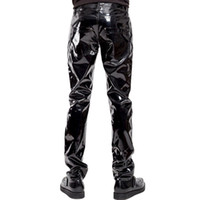 Fashion Mens Elastic Faux Leather PVC Pants Motorcycle Riddi...